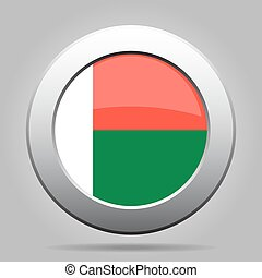 Flag of Madagascar. Shiny metal gray round button.