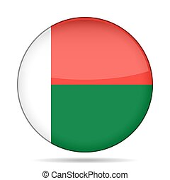 Flag of Madagascar. Shiny round button.