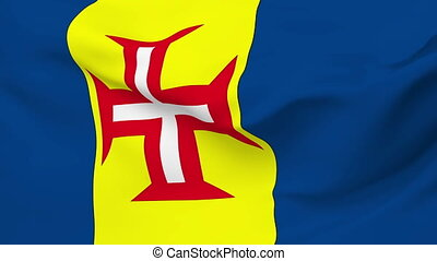 Flag of Madeira - Flag of the Madeira waving in the wind....
