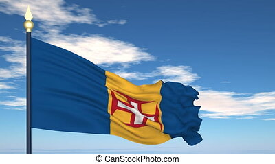 Flag Of Madeira on the background of the sky and flying clouds.