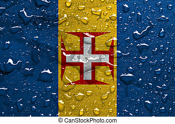 flag of Madeira with rain drops