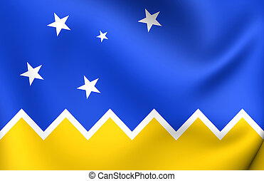 Flag of Magallanes and Antartica Chilena Region - 3D Flag of...