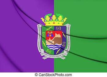 Flag of Malaga City, Spain. 3D Illustration.