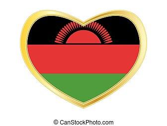 Flag of Malawi in heart shape, golden frame - Malawian...