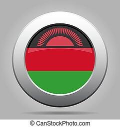 Flag of Malawi. Metal gray round button.