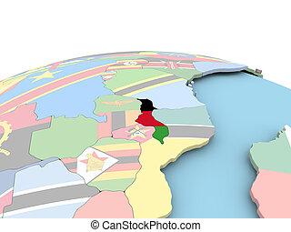 Flag of Malawi on bright globe - Malawi on political globe...