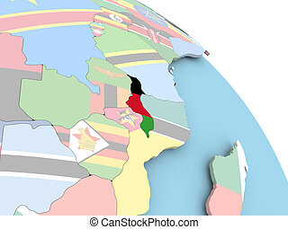 Flag of Malawi on globe - 3D render of Malawi with flag on...