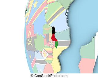 Flag of Malawi on political globe - Malawi on political...