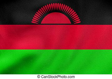 Flag of Malawi waving, real fabric texture - Malawian...