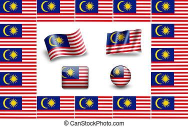 Flag of Malaysia. icon set. flags frame