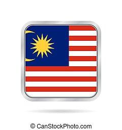 Flag of Malaysia. Metallic gray square button.