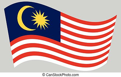 Flag of Malaysia waving on gray background