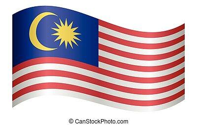 Flag of Malaysia waving on white background