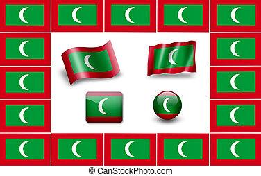 Flag of Maldives. icon set. flags frame