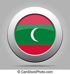 Flag of Maldives. Metal gray round button.