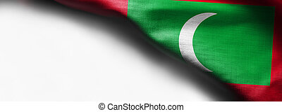 Flag of Maldives on white background - right top corner