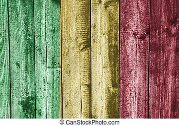 Flag of Mali on weathered wood