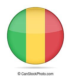 Flag of Mali. Shiny round button.