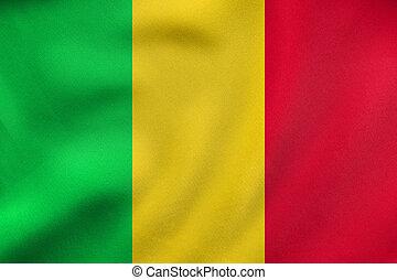 Flag of Mali waving, real fabric texture