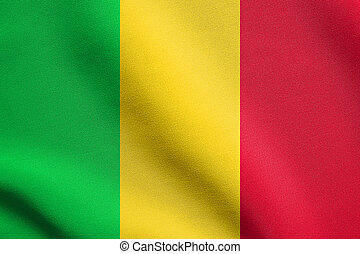 Flag of Mali waving with fabric texture