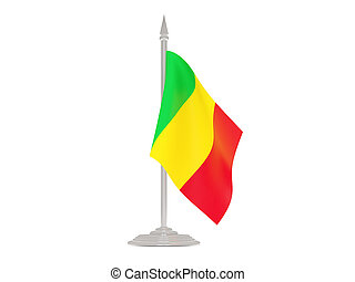 Flag of mali with flagpole. 3d render
