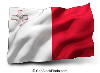 Flag of Malta - Waving flag of Malta isolated on white ...