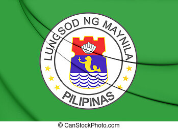 Flag of Manila, Philippines. 3D Illustration.