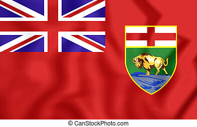 Flag of Manitoba, Canada. 3D Illustration.