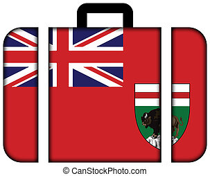 Flag of Manitoba Province, Canada. Suitcase icon, travel and...