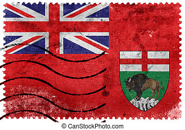Flag of Manitoba Province, Canada, old postage stamp