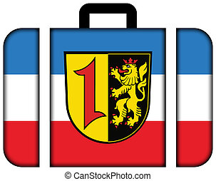 Flag of Mannheim with Coat of Arms, Germany. Suitcase icon, travel and transportation concept