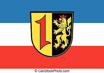 Flag of Mannheim with Coat of Arms, Germany. Vector Format