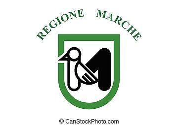 Flag of Marche Region, Italy. Vector Format
