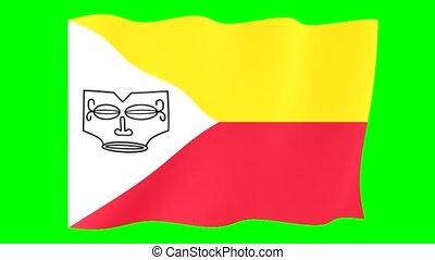 Flag of Marquesas Island. Waving flag - Flag animation for...