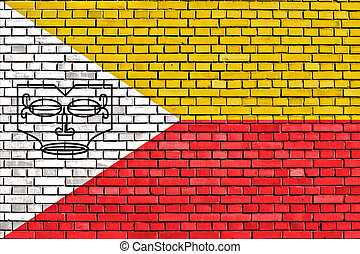 flag of Marquesas Islands painted on brick wall