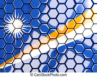 Flag of marshall islands, hexagon mosaic background