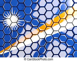 Flag of marshall islands, hexagon mosaic background