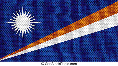 Flag of Marshall Islands on old linen
