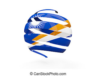 Flag of marshall islands, round icon isolated on white. 3D illustration
