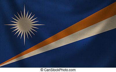Vintage background with flag of Marshall islands. Grunge style.