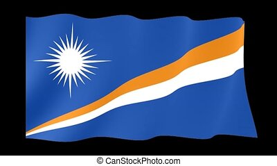 Flag of Marshall Islands. Waving flag (PNG) computer animatie.