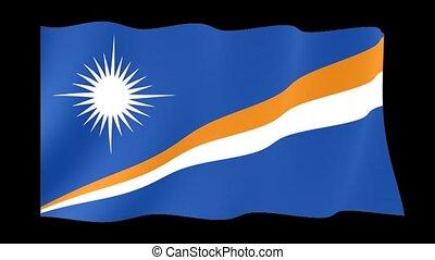 Flag of Marshall Islands. Waving flag (PNG) computer animatie.