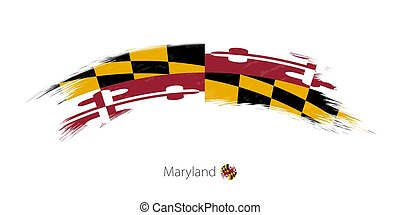 Flag of Maryland in rounded grunge brush stroke.