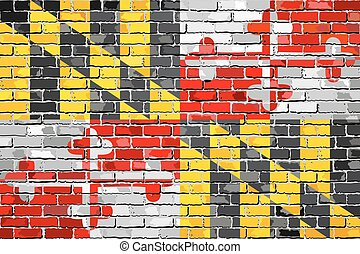 Flag of Maryland on a brick wall