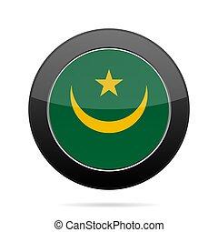 Flag of Mauritania. Shiny black round button.