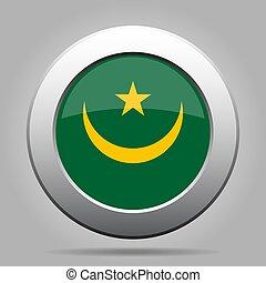 Flag of Mauritania. Shiny metal gray round button.
