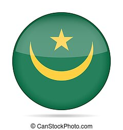 Flag of Mauritania. Shiny round button.