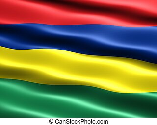 Flag of Mauritius, computer generated illustration with...
