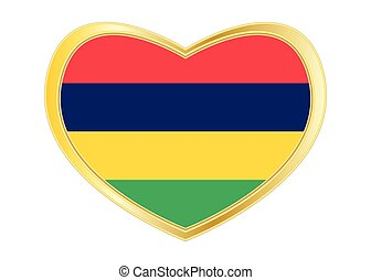 Flag of Mauritius in heart shape, golden frame