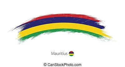 Flag of Mauritius in rounded grunge brush stroke.